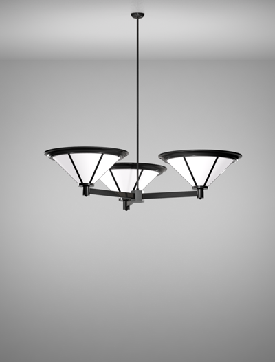 Spokane Series 3-Arm Cluster Pendant Church Lighting Fixture in Semi Gloss Black Finish