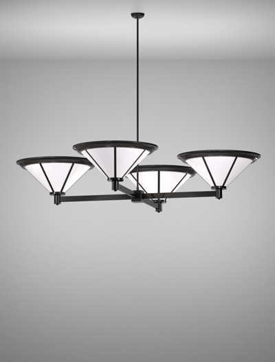 Spokane Series 4-Arm Cluster Pendant Church Lighting Fixture in Semi Gloss Black Finish