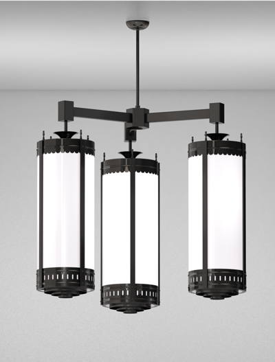 Savannah Series 3-Arm Cluster Pendant Church Lighting Fixture in Semi Gloss Black Finish