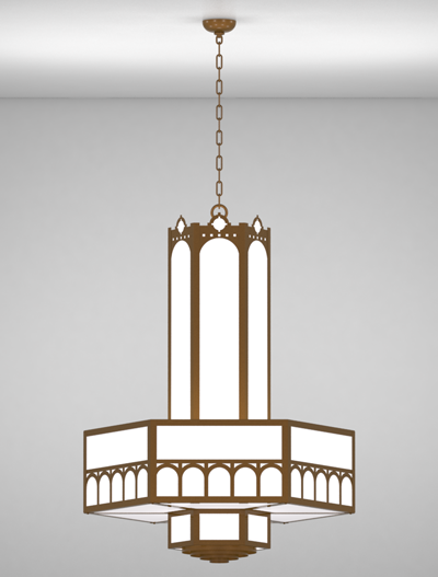 Taos Series 3-Tier Large Pendant Church Lighting Fixture in Nu Bronze Finish