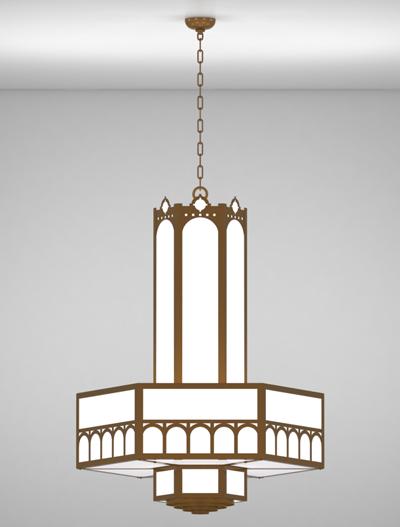 Taos Series 3-Tier Large Pendant Church Lighting Fixture in Nu Bronze Finish