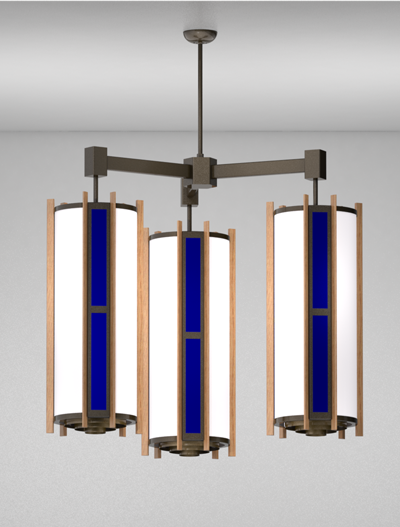 Winchester Series 3-Arm Cluster Pendant Church Lighting Fixture in Duranodic 313 Finish