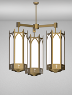 Hartford Series 3-Arm Cluster Pendant Church Light Fixture