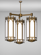 Lancaster Series 3-Arm Cluster Pendant Church Light Fixture